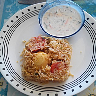 Egg Biryani and Raita